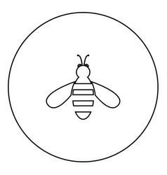 bee icon black color in circle vector image