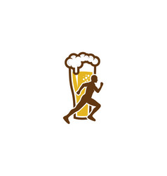 beer run logo icon design vector image