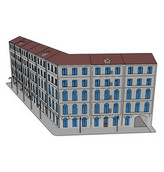 big building on white background vector image