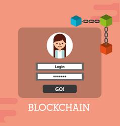 Blockchain login password internet security vector