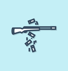 Blue line gun shooting icon isolated on blue vector