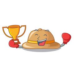 Boxing winner cork hat in a cartoon style vector