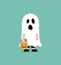 Boy with pumpkin basket dressed in ghost costume vector
