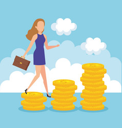 businesswoman with coins money vector image