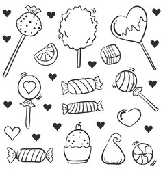 Candy various style hand draw doodles vector