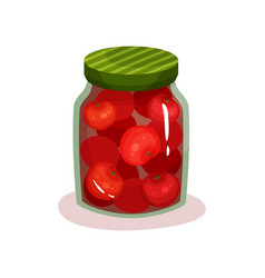canned tomatoes in glass jar with green lid vector image