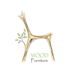 chair with tree twigs - eco vector image