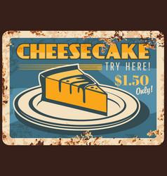 Cheesecake rusty metal plate bakery cake vector