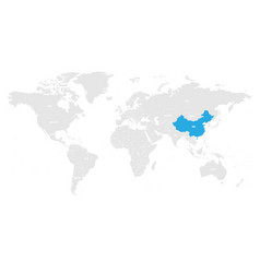 China marked blue in grey world political map vector