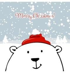 Christmas card with white santa bear vector