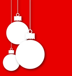 Christmas paper hanging balls with copy space for vector image