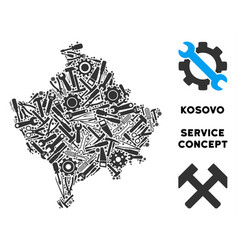 Composition kosovo map of repair tools vector