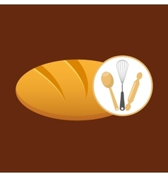 Cookware and bread vector