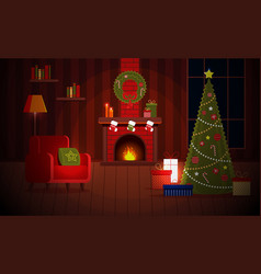 cozy new year christmas flat cartoon interior vector image