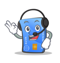 Credit card character cartoon with headphone vector