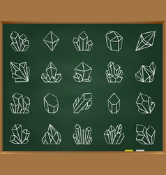 crystal chalk draw line icons set vector image