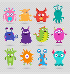 cute cartoon baby monsters isolated on vector image