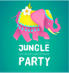 cute elephant jungle party indian design exotic vector image
