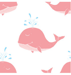 cute whale seamless pattern cartoon hand drawn vector image