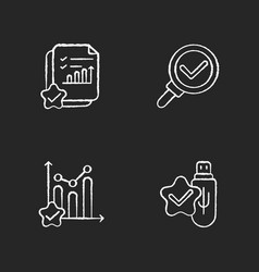 data research chemarks chalk white icons set vector image