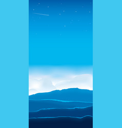 Dawn landscape with copy space mountains clouds vector