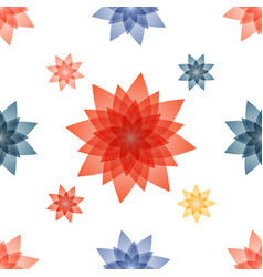 Decoupage with red blue flowers vector
