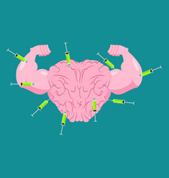 doping for brain strong mind and steroids syringe vector image