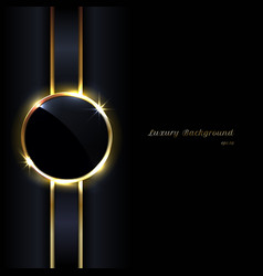 Elegant black glossy circles golden border vector