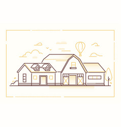 farm house - modern thin line design style vector image