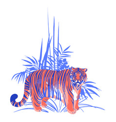 fat tiger standing among the exotic plants vector image