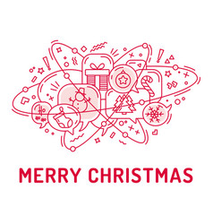 from christmas icons in chat bubbles with three vector image