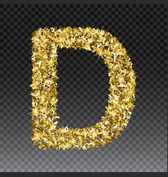 Gold glittering letter d shining golden vector