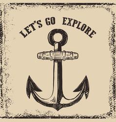 Hand drawn anchor on grunge background design vector