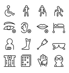 Handicap disabled icon set in thin line style vector