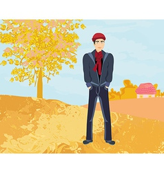 Handsome young man walking in autumn day vector image