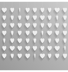Hanging paper hearts vector image