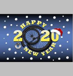 happy new year 2020 and bicycle wheel vector image