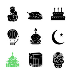 Holidays glyph icons set vector