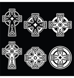Irish Scottish Celtic white cross on black vector