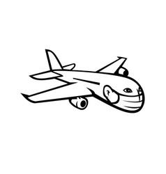 Jumbo jet plane airliner flying wearing face mask vector
