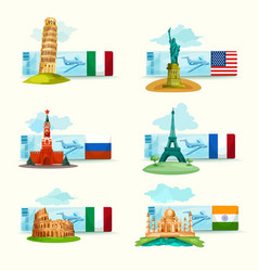 Landmarks Tickets Set vector image