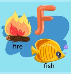 Letter f in children s alphabet vector