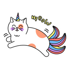 magic cat unicorn icon kid decorative character vector image