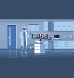 Male doctor wearing digital glasses examining vector