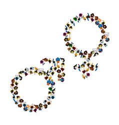 many people male and female symbol set vector image