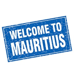 Mauritius blue square grunge welcome to stamp vector image