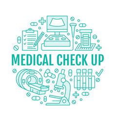 medical check up poster template flat line vector image