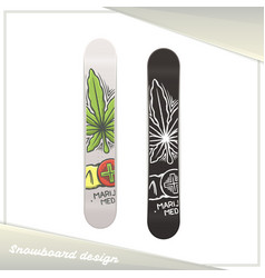Medical marijuana snowboard two vector