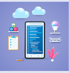 mobile application development concept in 3d style vector image