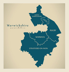 Modern map - warwickshire county with district vector